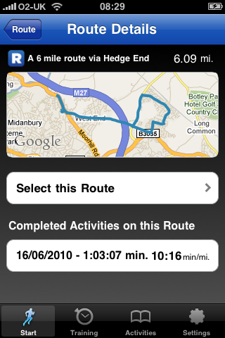 Selected route with map and previous fastest times
