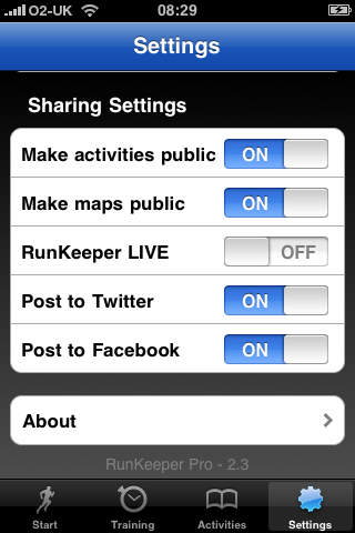 In app sharing settings